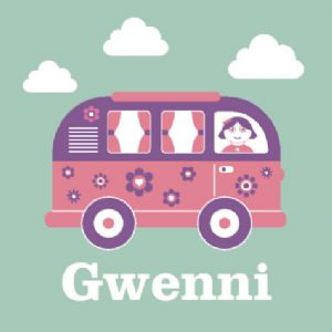 Wallspice Personalised Art :: Kids Name With Cool Campervan Illustration